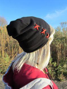 XXX Black Cashmere Cotton Slouch Beanie Hat by Vacationhouse, $40.00