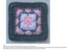 Rose in square crochet granny square Crochet Squares Afghan, Crochet Blocks, Granny Square Crochet Pattern, Crochet Granny, Crochet Blanket Patterns, Crochet Motif, Crochet Stitches, Knitting Patterns, Granny Squares