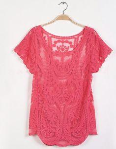 cfdfbb227d208 New Fashion Women Lace Blouses Sexy Plus Size Chiffon Tops Women Blusa  Renda Short Sleeve Hollow Crochet Top Casual Blusa