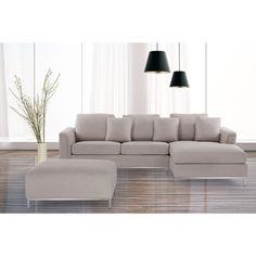 Embrace modern design aesthetics with this Beliani fabric sectional sofa from Oslo. Made with a wood frame and steel legs for durability, this fabric sectional sofa with ottoman stands up to daily use