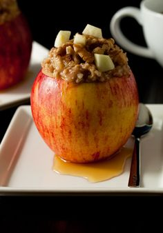 Apple Cinnamon Oatmeal Stuffed into... an apple!