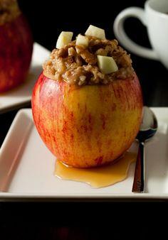 Apple Cinnamon Oatmeal Stuffed into... an apple!