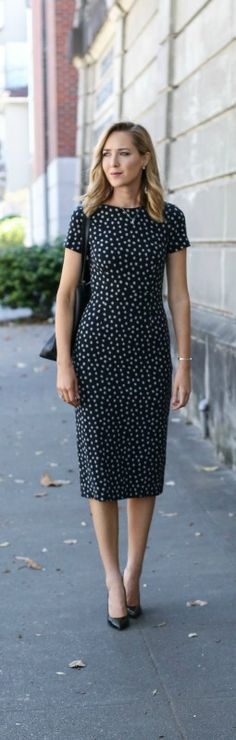 black and white spotted sheath dress, black patent pointed toe pumps, black monogrammed tote handbag, loose wave hairstyle {anthropologie, sjp collection, gigi new york}