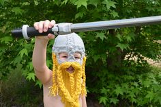 I think Chase needs one of these! ;-)    Ravelry: Dwarven Battle Bonnet 2 pattern by Sally Pointer/ Wicked Woollens