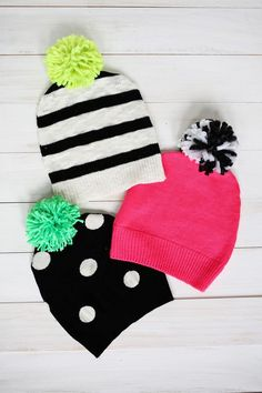 """Remember our """"Have a Sweater? Make a Pillow!"""" post? Well, now it's time to use the same principle to make an adorable pom-pom hat to go with the cooler weather that's rolling in. If you don't have exp"""