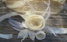 Gatsby Ivory Silk flower Corsage fascinator by jcmartanddesign, $25.00