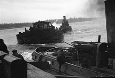 Boats arriving at Leningrad, Russia via Lake Ladoga, bringing food and other supplies, 1 Sep 1942