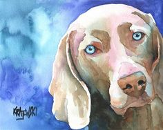 Weimaraner+Art+Print+of+Original+Watercolor+by+dogartstudio,+$12.50