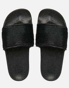 Image 3 ofadidas Originals Adilette Faux Pony Skin Slider Sandals