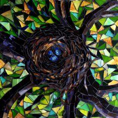 "The Birdsnest - small mosaic artwork 14"" x 14"""