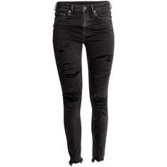 H&M Skinny Ankle Jeans $29.99 ($30) ❤ liked on Polyvore featuring jeans, pants, bottoms, ripped jeans, high-waisted jeans, destructed skinny jeans, super skinny jeans and distressed skinny jeans