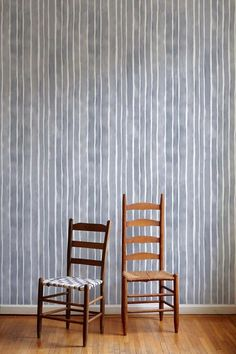 Painted Stripe Wallpaper in Storm – Rebecca Atwood Designs Painting Stripes On Walls, Paint Stripes, Striped Wallpaper, Wall Wallpaper, Striped Walls, White Furniture, White Decor, Bedroom Decor, Bedroom Ideas