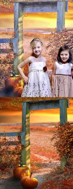 Halloween / Fall Portraits featuring Autumn Gate Backdrop from Backdrop Express Fall Portraits, Halloween Photography, Halloween Photos, Photo Studio, Gate, Backdrops, Flower Girl Dresses, Autumn, Outdoor Decor