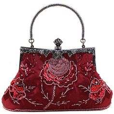 Belsen Women's Vintage Beaded Sequin Evening Handbags (Red wine) (€26) ❤ liked on Polyvore featuring bags, handbags, red handbags, beaded evening bags, vintage handbags, evening handbags and evening bags