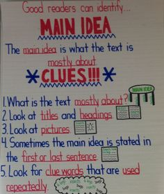 Main idea anchor chart by emily education teachers pay Reading Lessons, Reading Strategies, Teaching Reading, Reading Comprehension, Guided Reading, Comprehension Strategies, Reading Skills, Poetry Lessons, Teaching Poetry
