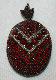 Mourning Locket - Garnet Seed Pearls & Silver