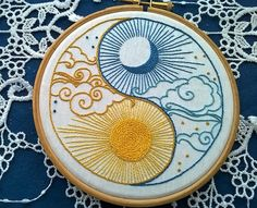 embroidery pattern pdf - sun and moon yin yang  - beginner embroidery pattern instant download -needlework tutorial - Instant download