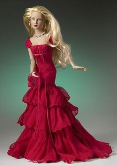Dolls - red gown with empire waistline