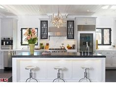 Beautiful Kitchen at Jeff Lewis' Gramercy House. (Stool Top View)