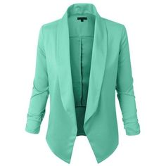 LE3NO Womens Lightweight Open Front Draped Tuxedo Blazer Jacket ❤ liked on Polyvore featuring outerwear, jackets, blazers, green blazer jacket, lightweight blazer, open front blazer, green jacket and green blazers
