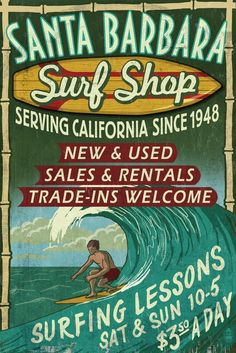 Santa Barbara, California - Surf Shop Vintage Sign (36x54 Giclee Gallery Print, Wall Decor Travel Poster) *** Awesome product. Click the image : Dining Entertaining
