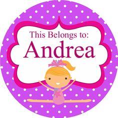 Personalized Name Stickers  Purple Polka Dot por PurpleBerryInk