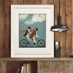 St Bernard breed - St Bernard on tandem - Saint Bernard dog Cycling gift Bike wedding gift Bicycling Dog lover gift Prints of dog Dog art