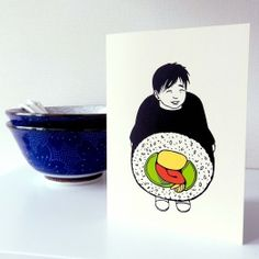 'Sushiboy' Japanese postcard. Made by Mietta Várszegi.  You can order by clicking on the picture.