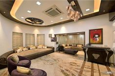 Subtle yellow lighting gives this room a sleek finish! #livingroom #contemporary Design Courtesy - IPIPL