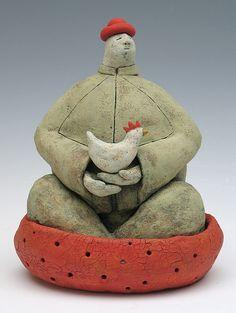 Nest > clay ceramic sculpture animal by sara swink