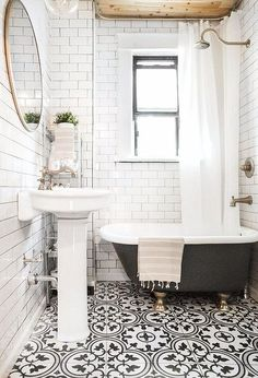 black and white bathroom tile in Jonah's/guest bathroom Upstairs Bathrooms, Downstairs Bathroom, Laundry In Bathroom, Bathroom Renos, Bathroom Flooring, Bathroom Interior, Tile Bathrooms, Small Bathroom Tub Ideas, Stick On Tiles Bathroom