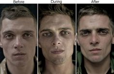 Mesmerizing Photographs Of Soldiers Faces Before And After A War--use for multimodality...images convey messages as strongly as words