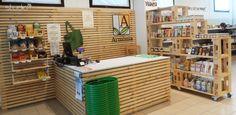 "Interior design by Giovanni Tomasini - Studio7B / Health Food Store ""Armònia"" - Brescia (ITALY) - 2014. #pallet #design #eco #wood #natural #interior #design #architecture #pallets #wall #oldwood #newlife #recycled #health #store #cafè #bio #locale #negozio #furniture #arredo #madeinitaly #style #Studio7B #biologico #greendesign #shelf #desk #table #fruiterer #greengrocer #fruits #verdures #desk"