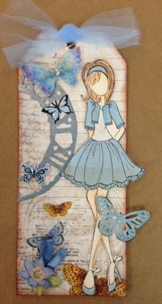 Carefree - Scrapbook.com galleries, doll tag, doll stamp, juli nut, butterflies, prima dolls, nut doll, stamps, blues