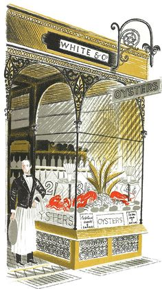 """Eric Ravilious: Oyster Bar from """"High Street"""" by J M Richards, 1938 (lithograph) #oysterart"""