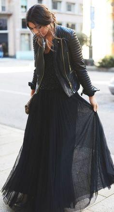 black on black | moto jacket + maxi skirt + bag + blouse