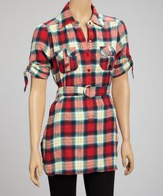 Take a look at this Red Plaid Tunic by She's Cool on #zulily today!