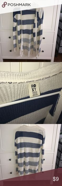 Roxy Blue & White Striped Cardigan Good condition the only flaw is a small hole at the bottom right of the Cardigan with a smaller stain. Other than that there's no tips, tears, stains, etc.  Size M. Roxy Sweaters Cardigans
