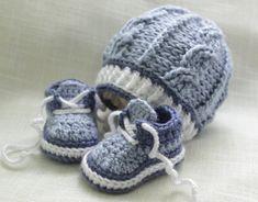 Crochet Baby Boy Hat and Booties Sneakers Newborn by LoopsInBloom, $30.00
