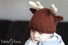 Knitted Reindeer Beanie FREE Pattern