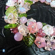 ♥ Fabulous Mixed Pink & Green Tones Czech Glass Elements Plated Silver Bracelet