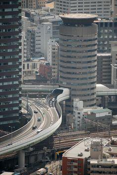 HANSHIN EXPRESSWAY < & > GATE TOWER BUILDING | FUKUSHIMA-KU | OSAKA | JAPAN: *Completed: 1992; Height: 236ft (71.9m); 16-Storeys (+2-Storeys Underground)*
