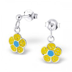 Boucle d'oreille enfant fleurs jaune et bleu
