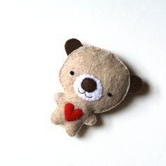 Bear Felt Brooch Grey Bear Red Heart Felt Pin Grey Teddy Bear by mikaart $18.99
