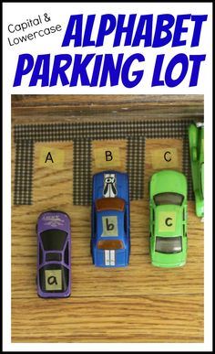 Motherhood Discover Alphabet Parking Lot: Matching Capital and Lowercase Letters - I Can Teach My Child! This could be adapted for sight words! Alphabet Parking Lot: Matching Capital and Lowercase Letters using toy cars!