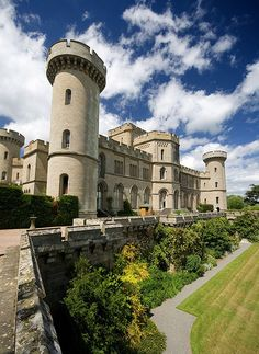 Eastnor Castle, Herefordshire, England. Built in 1810 at a cost of .£85,000 in the 'Norman Revival' style to give the impression of a medieval fortress guarding the Welsh Borders