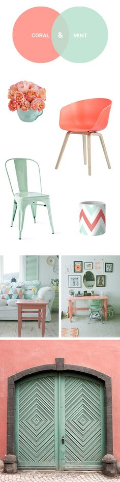 coral and mint My New Room, My Room, Girl Room, Girls Bedroom, Bedroom Decor, Home Staging, Colour Schemes, House Colors, Room Inspiration