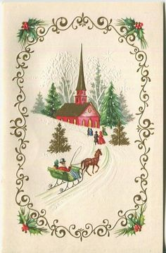 VINTAGE CHRISTMAS GOLD RED CHURCH SNOW SLEIGH RIDE HORSE EVERGREEN GREETING CARD | eBay