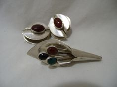 Vintage Sterling Silver Broach & Earring Set