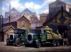"""Two Old Leylands"" - Mike Jeffries Vintage Trucks, Old Trucks, Transport Pictures, Old Lorries, Road Transport, Truck Art, Art Deco Posters, Country Art, Commercial Vehicle"